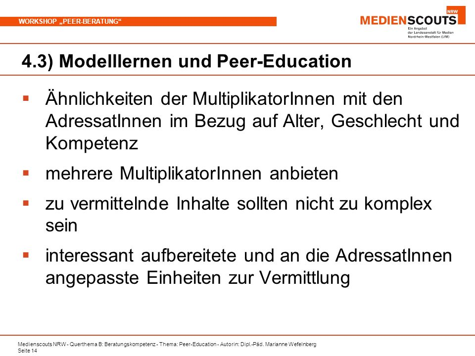 4.3) Modelllernen und Peer-Education