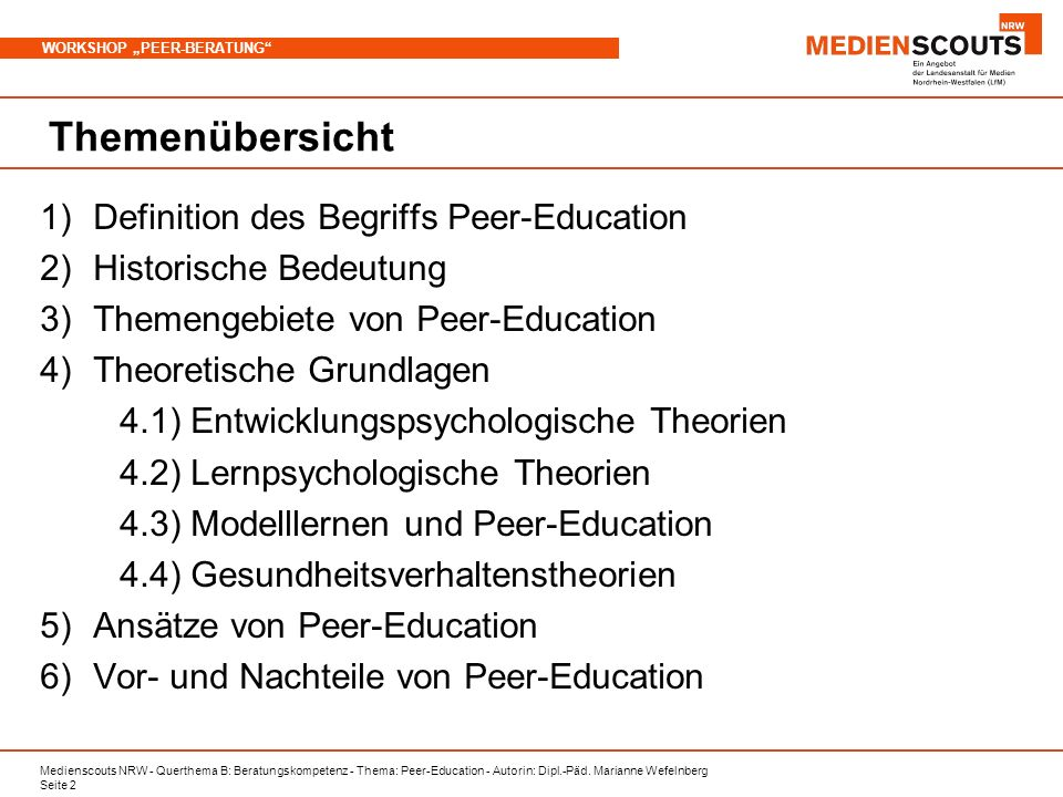 Themenübersicht Definition des Begriffs Peer-Education