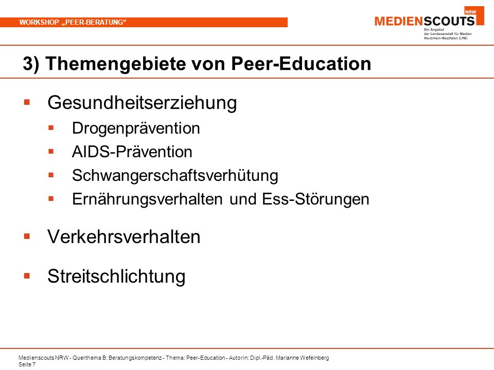 3) Themengebiete von Peer-Education