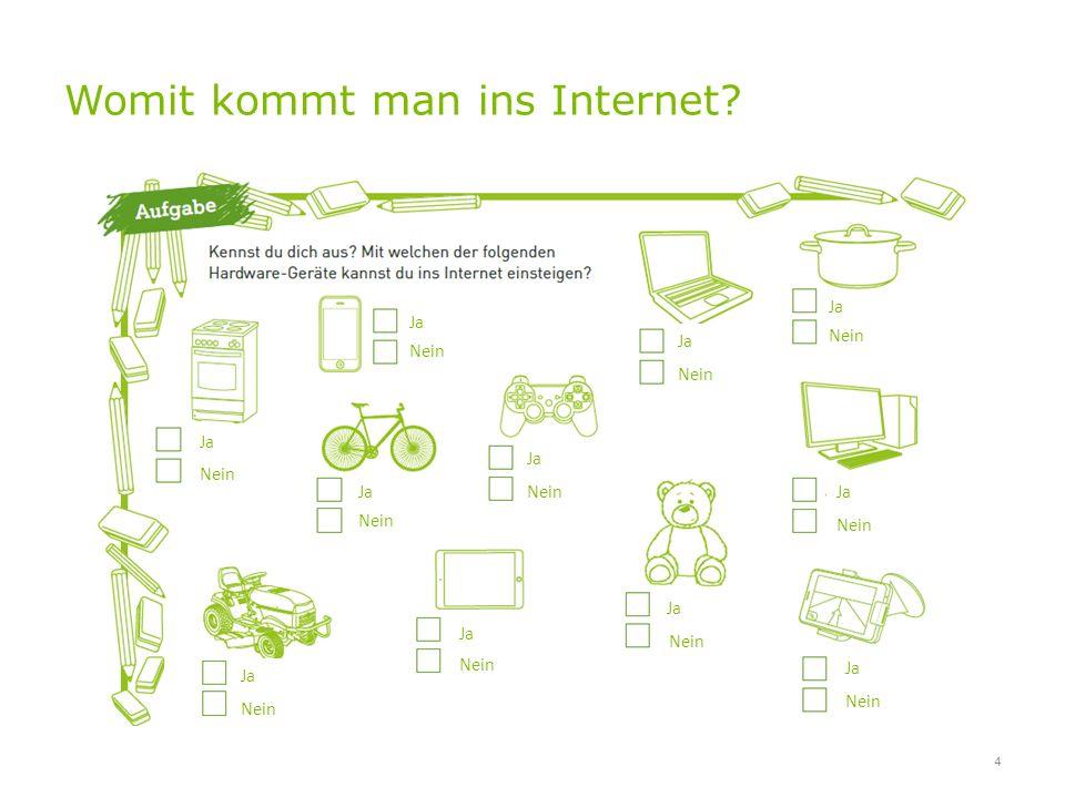 Womit kommt man ins Internet