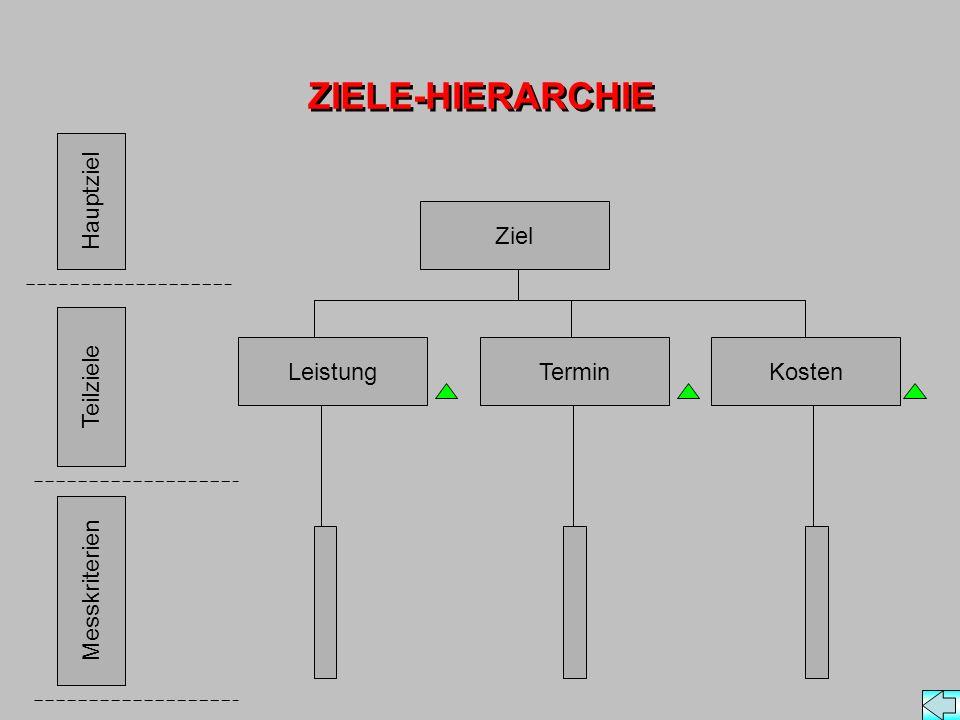ZIELE-HIERARCHIE Hauptziel Ziel Leistung Termin Kosten Teilziele