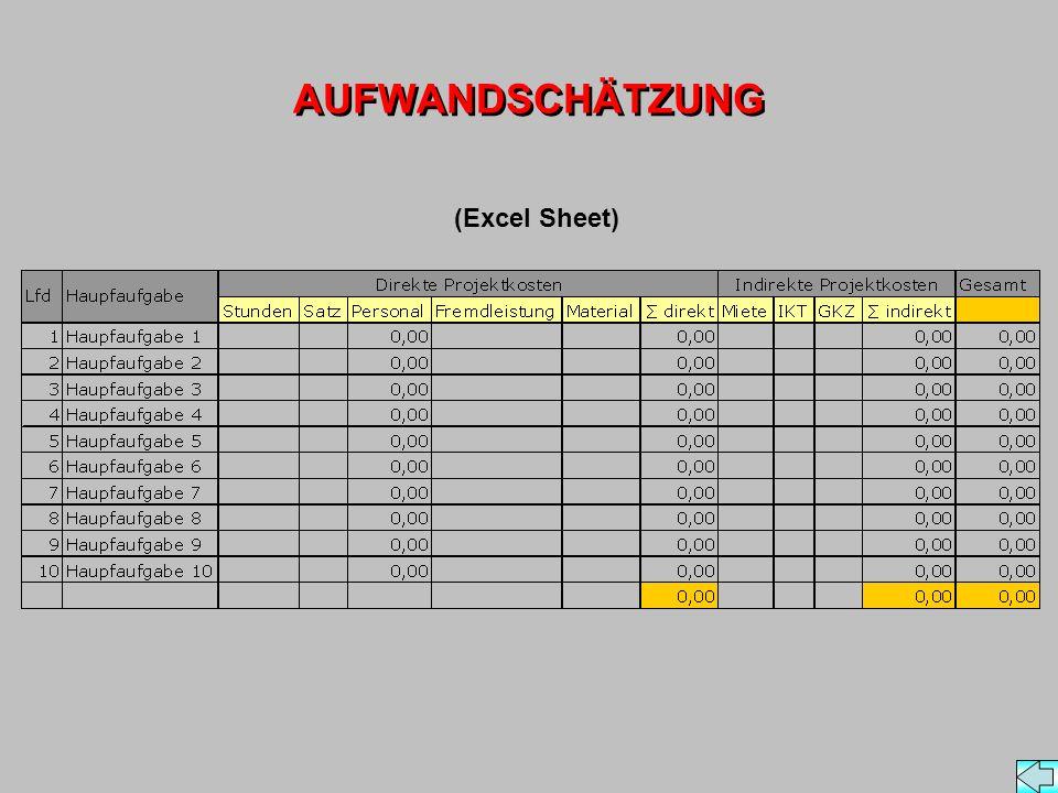 AUFWANDSCHÄTZUNG (Excel Sheet)