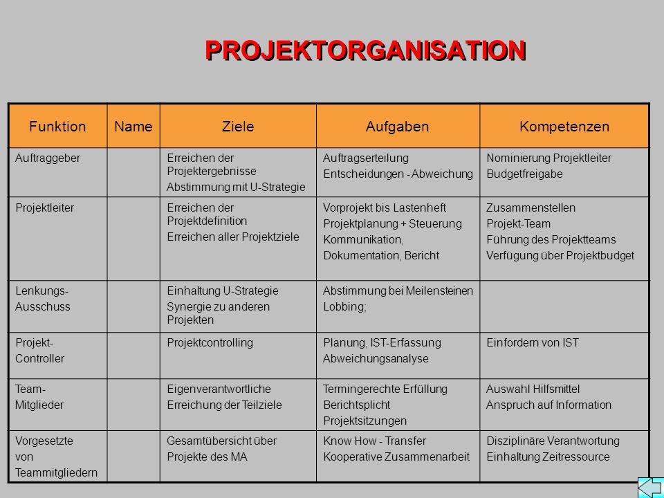 PROJEKTORGANISATION Funktion Name Ziele Aufgaben Kompetenzen