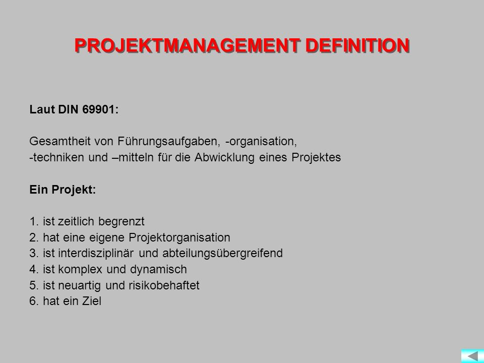 PROJEKTMANAGEMENT DEFINITION