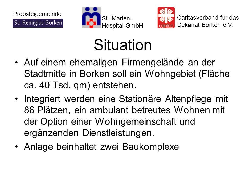 Situation Auf einem ehemaligen Firmengelände an der Stadtmitte in Borken soll ein Wohngebiet (Fläche ca. 40 Tsd. qm) entstehen.