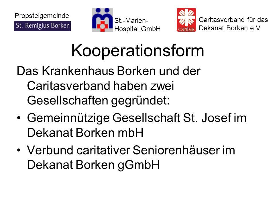 Kooperationsform Das Krankenhaus Borken und der Caritasverband haben zwei Gesellschaften gegründet: