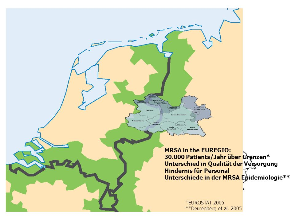 MRSA in Europa MRSA in the EUREGIO: 30.000 Patients/Jahr über Grenzen*
