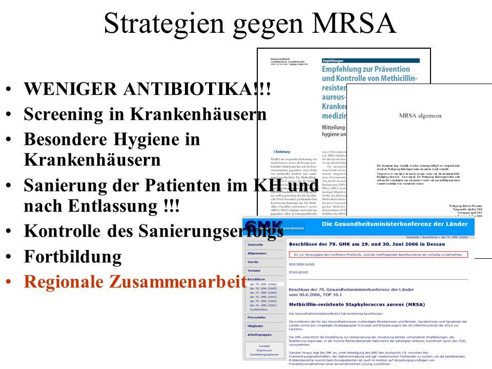 Strategien gegen MRSA WENIGER ANTIBIOTIKA!!!