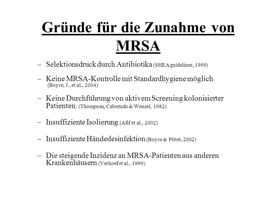 Gründe für die Zunahme von MRSA