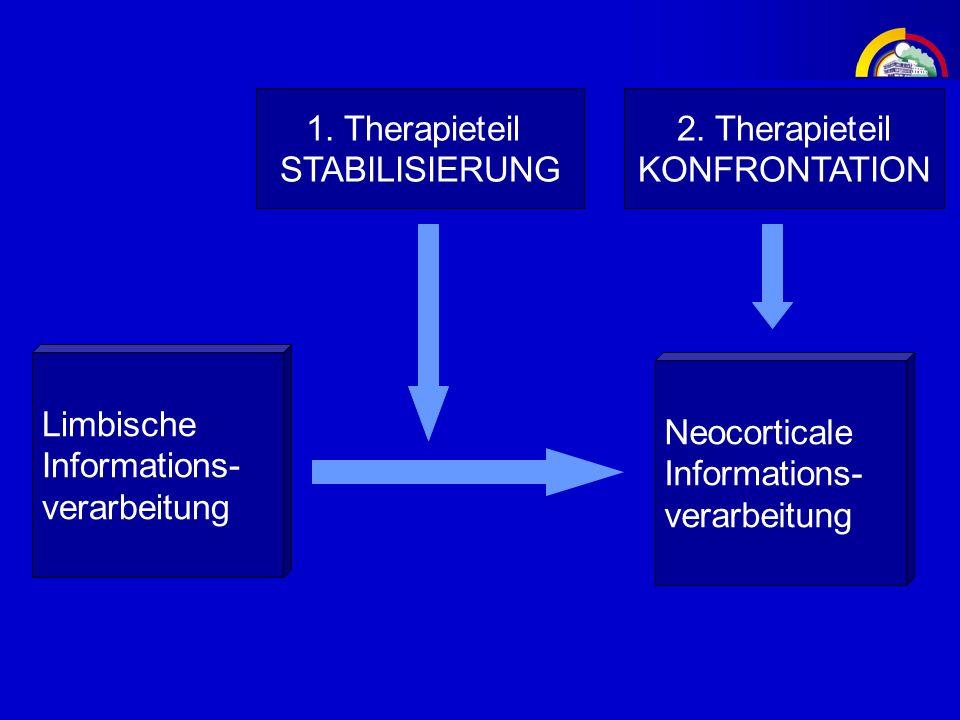 1. Therapieteil STABILISIERUNG. 2. Therapieteil. KONFRONTATION. Limbische. Informations- verarbeitung.