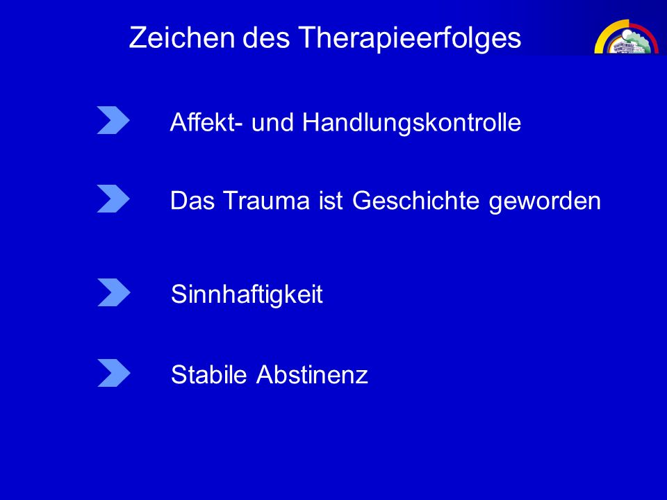 Zeichen des Therapieerfolges