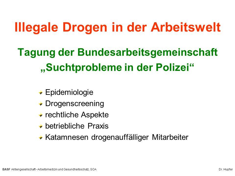 """Illegale Drogen in der Arbeitswelt Tagung der Bundesarbeitsgemeinschaft """"Suchtprobleme in der Polizei"""