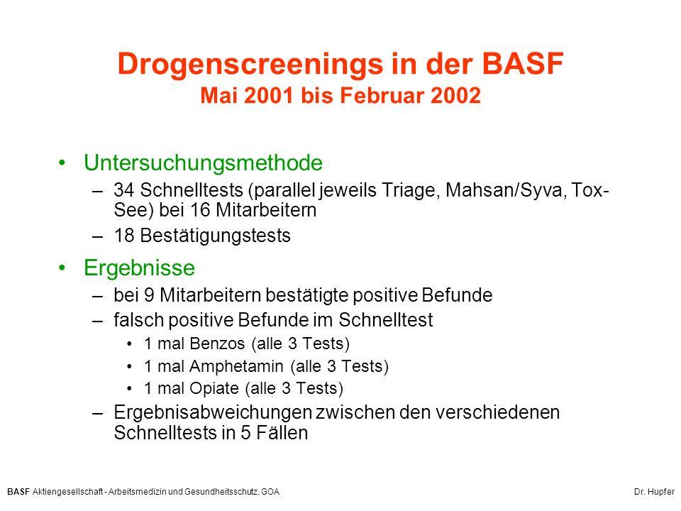 Drogenscreenings in der BASF Mai 2001 bis Februar 2002