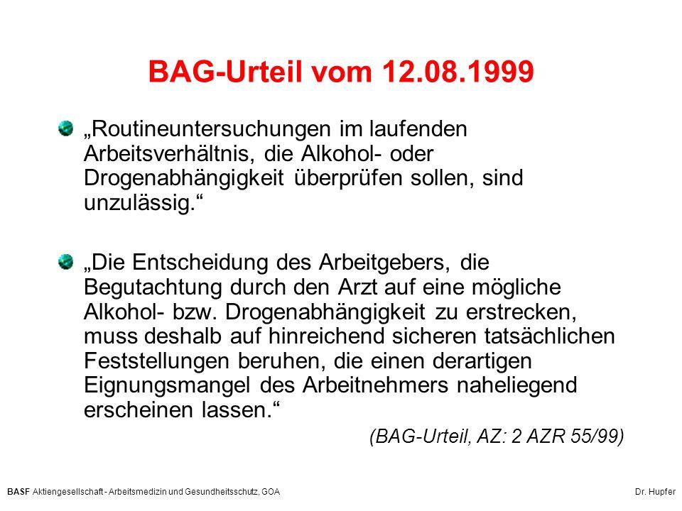 BAG-Urteil vom 12.08.1999