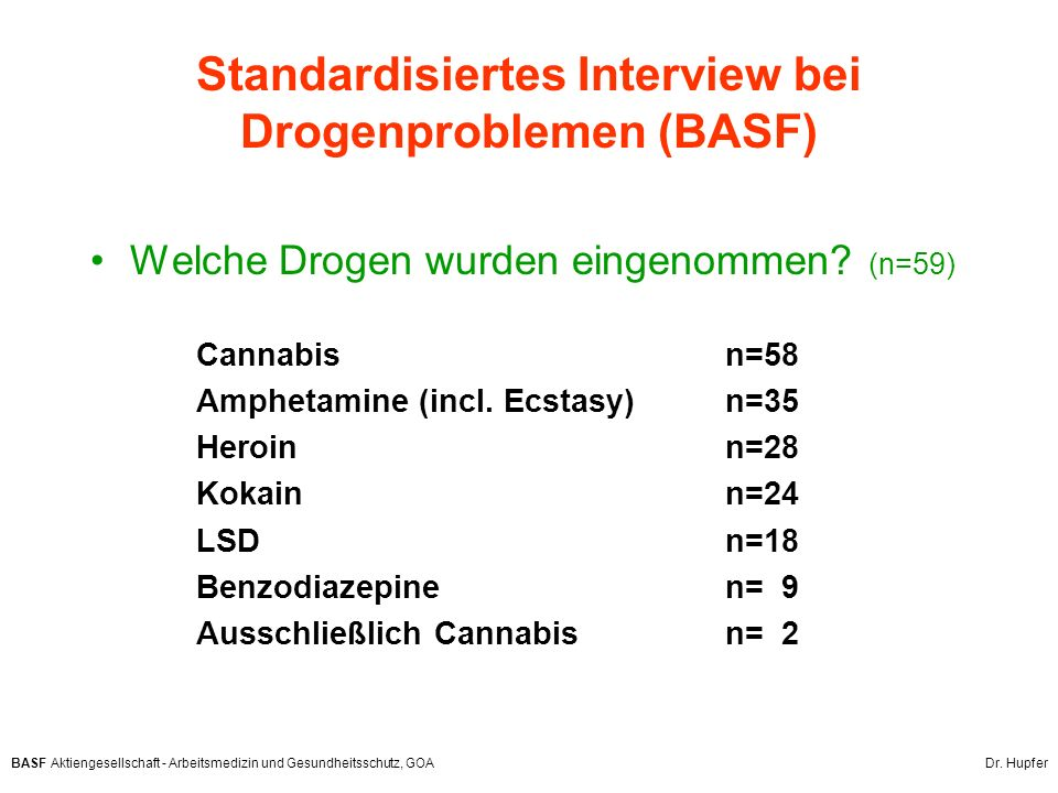 Standardisiertes Interview bei Drogenproblemen (BASF)