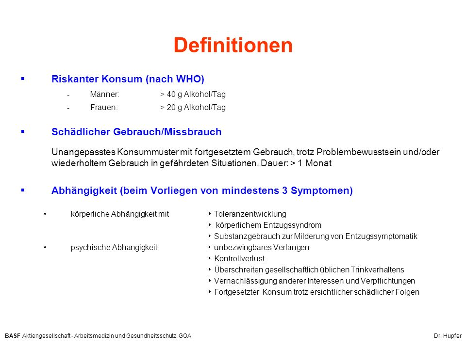 Definitionen Riskanter Konsum (nach WHO)