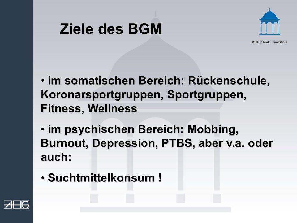 Ziele des BGM im somatischen Bereich: Rückenschule, Koronarsportgruppen, Sportgruppen, Fitness, Wellness.