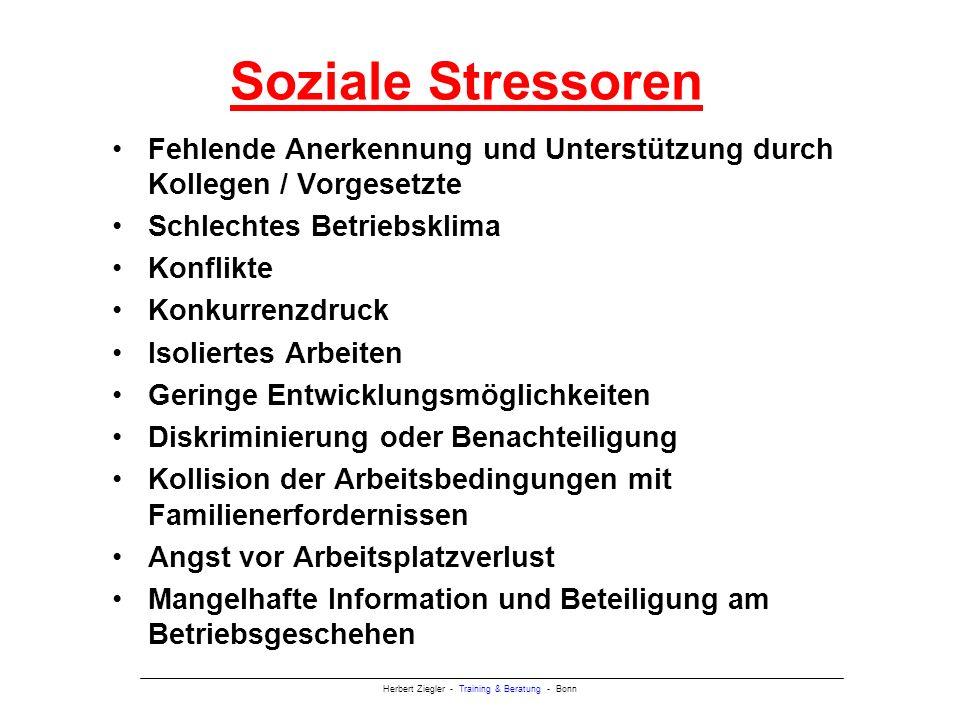 Soziale Stressoren Fehlende Anerkennung und Unterstützung durch Kollegen / Vorgesetzte. Schlechtes Betriebsklima.