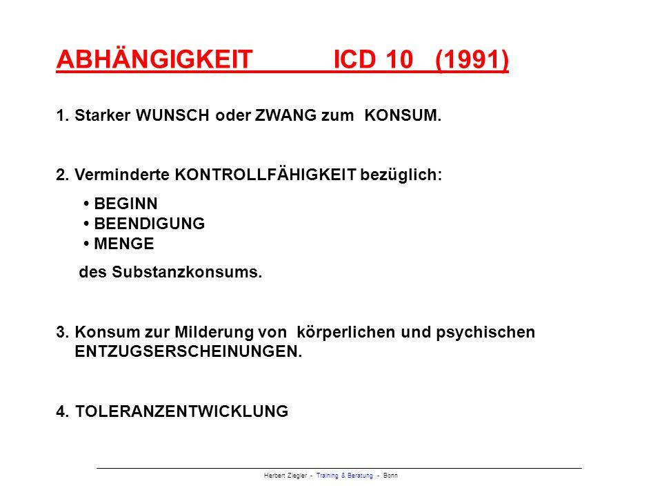ABHÄNGIGKEIT ICD 10 (1991) 1. Starker WUNSCH oder ZWANG zum KONSUM.