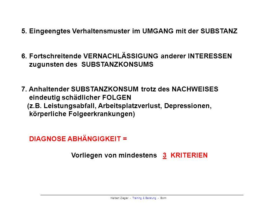 5. Eingeengtes Verhaltensmuster im UMGANG mit der SUBSTANZ