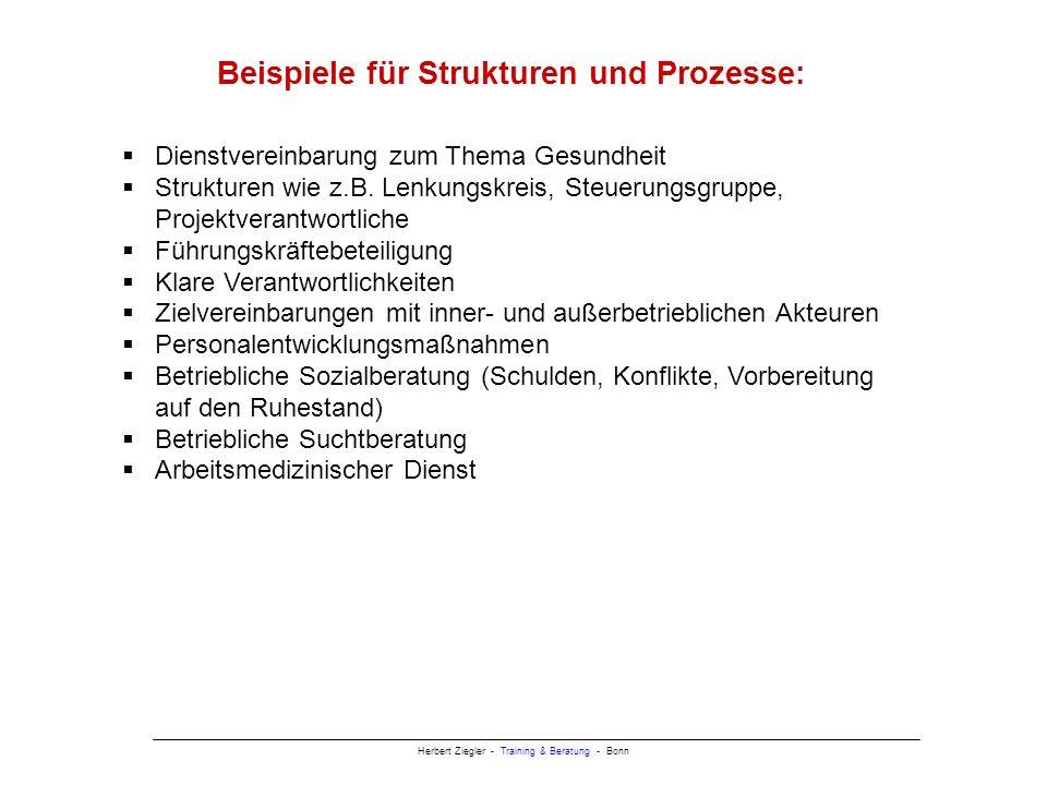 Beispiele für Strukturen und Prozesse: