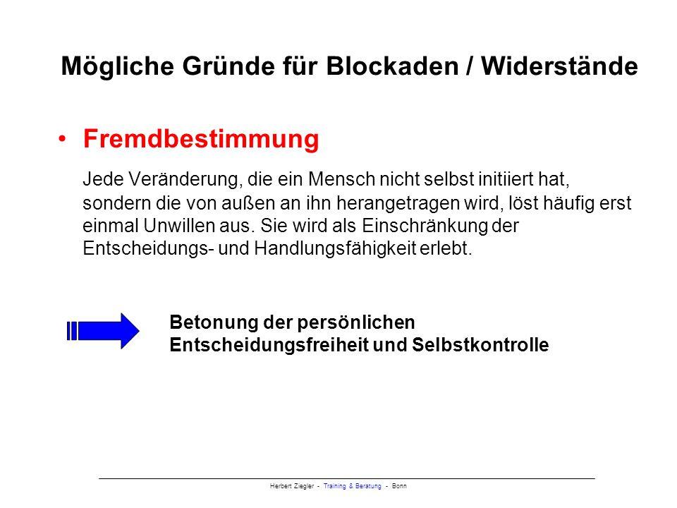 Mögliche Gründe für Blockaden / Widerstände
