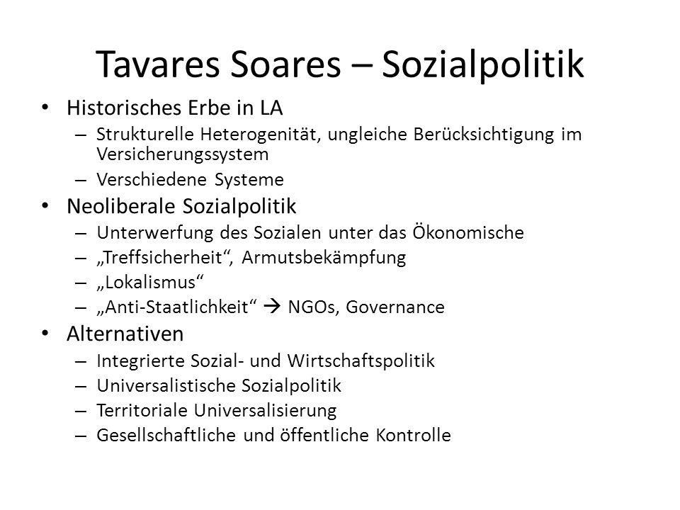 Tavares Soares – Sozialpolitik