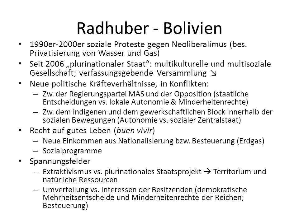 Radhuber - Bolivien 1990er-2000er soziale Proteste gegen Neoliberalimus (bes. Privatisierung von Wasser und Gas)