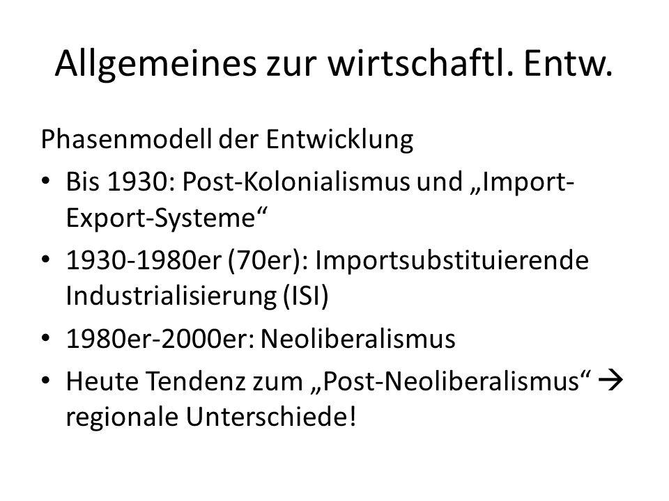 Allgemeines zur wirtschaftl. Entw.