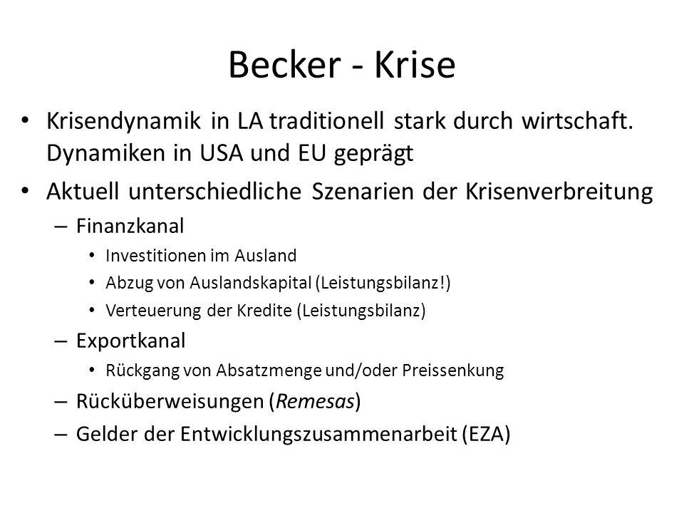 Becker - Krise Krisendynamik in LA traditionell stark durch wirtschaft. Dynamiken in USA und EU geprägt.