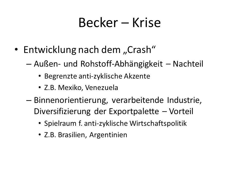"Becker – Krise Entwicklung nach dem ""Crash"