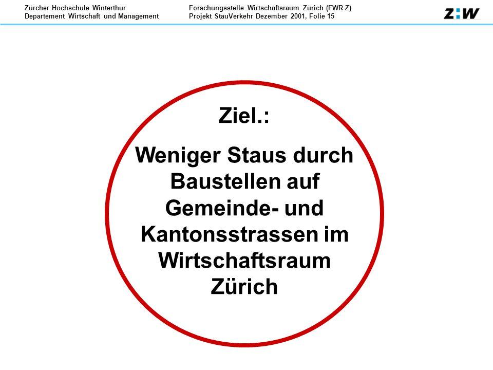 Ziel.: Weniger Staus durch Baustellen auf Gemeinde- und Kantonsstrassen im Wirtschaftsraum Zürich.