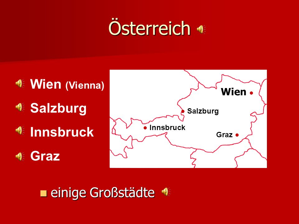 Österreich Wien (Vienna) Salzburg Innsbruck Graz einige Großstädte