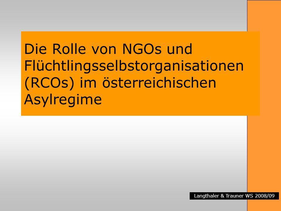 Die Rolle von NGOs und Flüchtlingsselbstorganisationen (RCOs) im österreichischen Asylregime