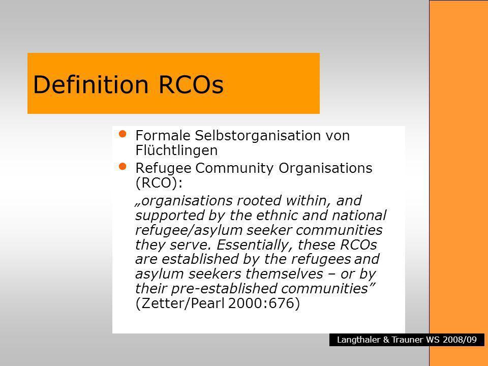 Definition RCOs Formale Selbstorganisation von Flüchtlingen