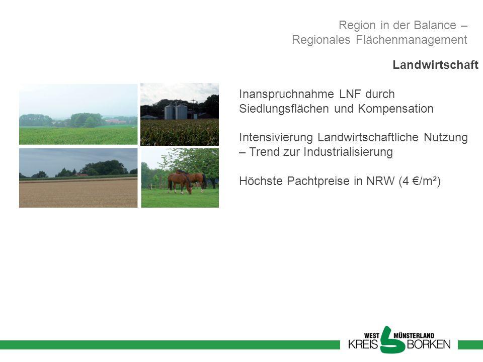 Region in der Balance – Regionales Flächenmanagement. Landwirtschaft. Inanspruchnahme LNF durch Siedlungsflächen und Kompensation.