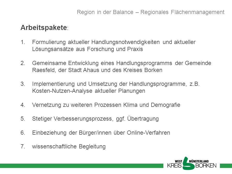 Arbeitspakete: Region in der Balance – Regionales Flächenmanagement