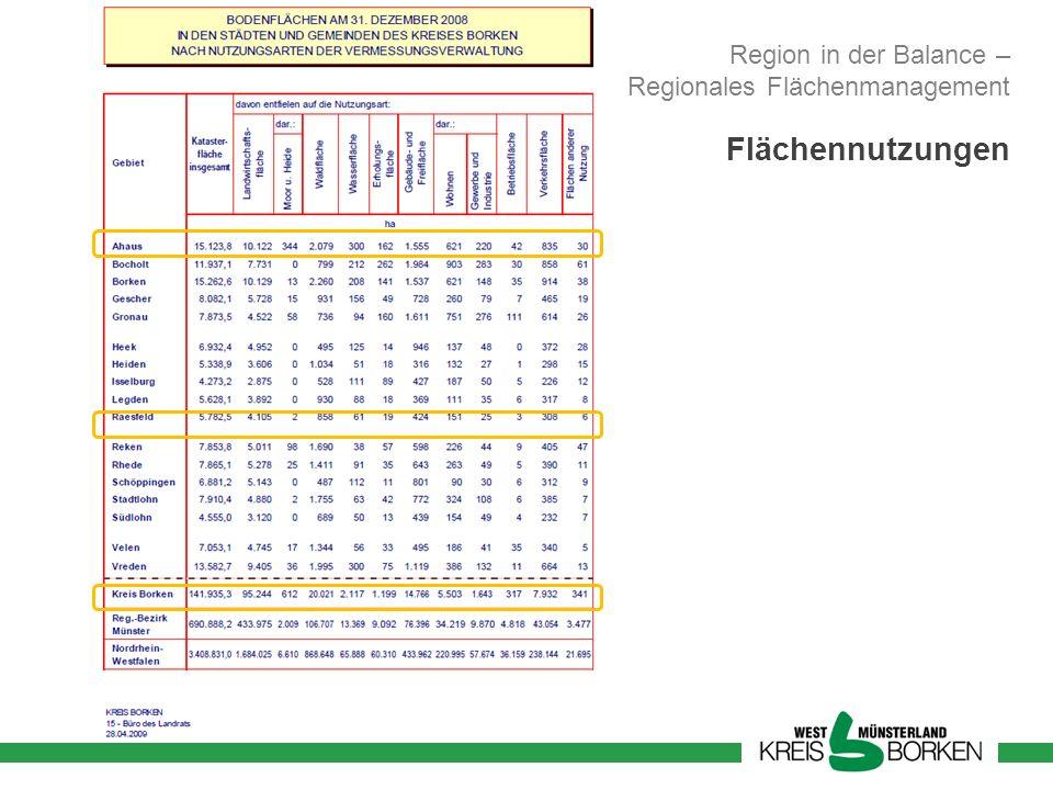 Region in der Balance – Regionales Flächenmanagement Flächennutzungen