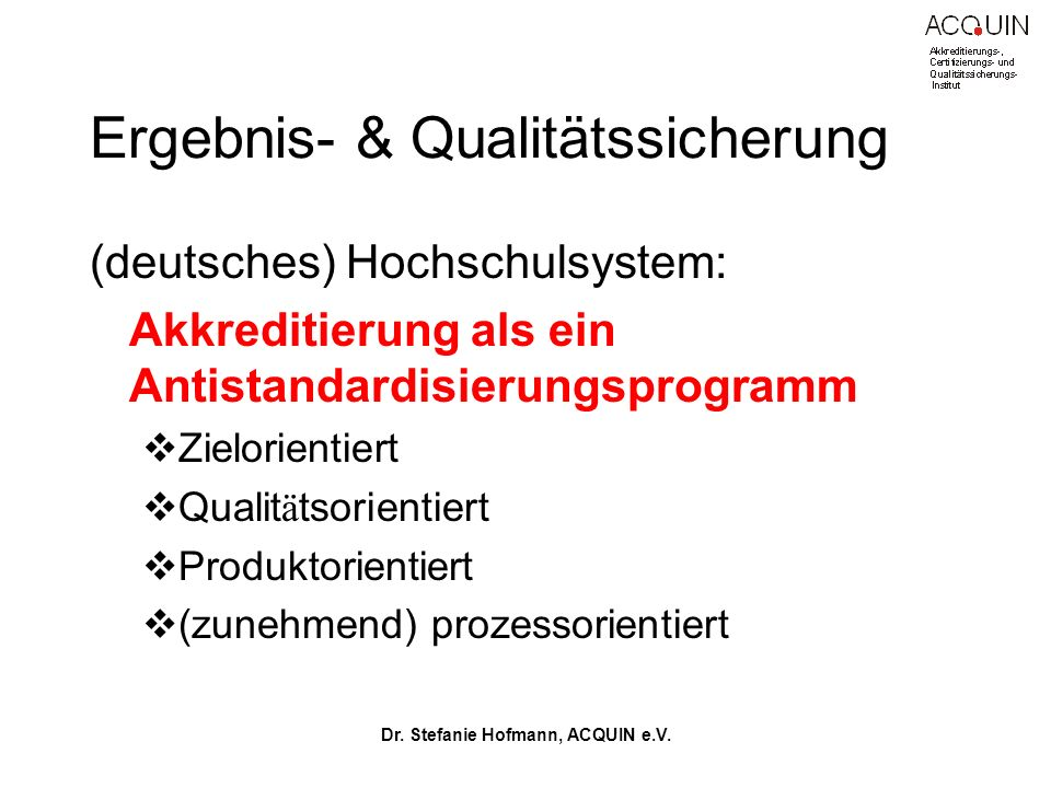Ergebnis- & Qualitätssicherung