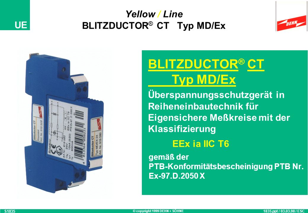 Yellow / Line BLITZDUCTOR® CT Typ MD/Ex