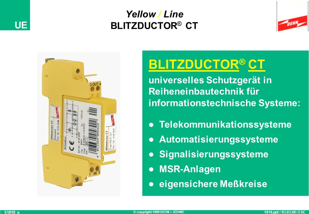 Yellow / Line BLITZDUCTOR® CT