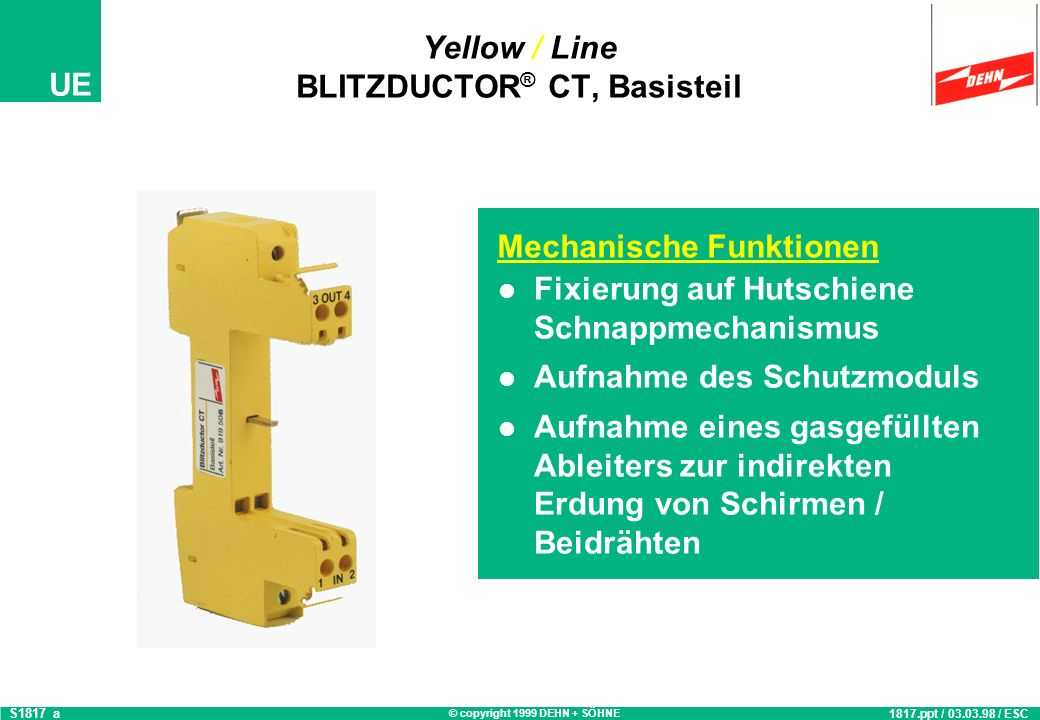 Yellow / Line BLITZDUCTOR® CT, Basisteil