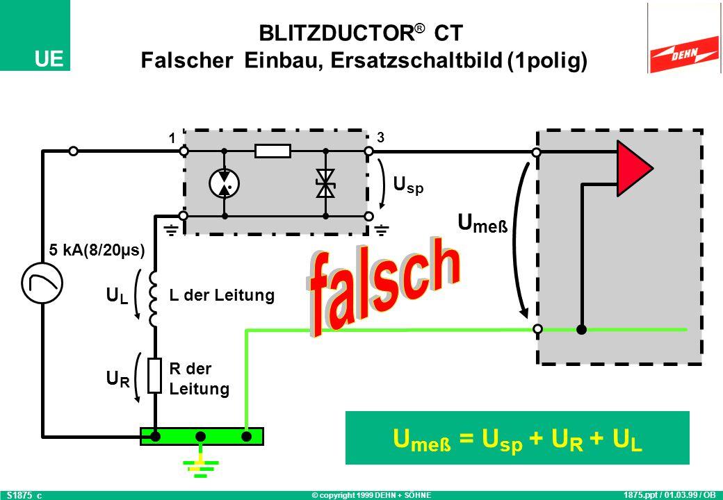 BLITZDUCTOR® CT Falscher Einbau, Ersatzschaltbild (1polig)