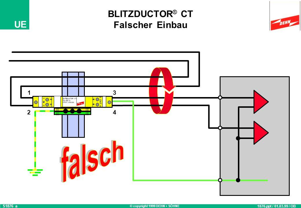BLITZDUCTOR® CT Falscher Einbau