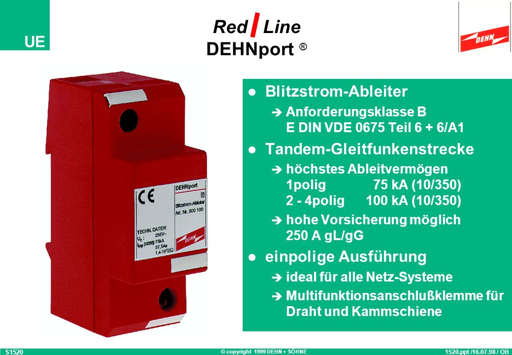 Red Line DEHNport ® Blitzstrom-Ableiter Tandem-Gleitfunkenstrecke