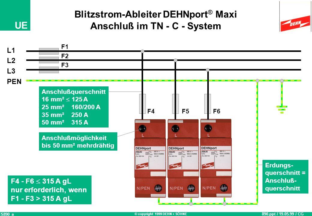 Blitzstrom-Ableiter DEHNport® Maxi Anschluß im TN - C - System