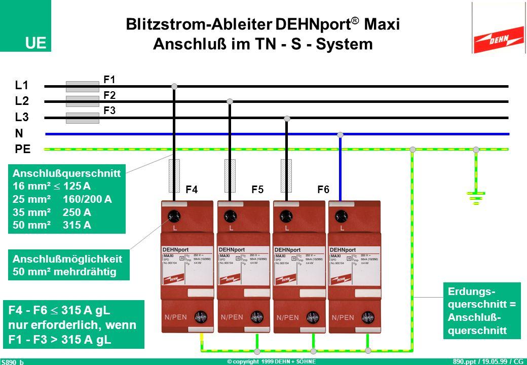 Blitzstrom-Ableiter DEHNport® Maxi Anschluß im TN - S - System