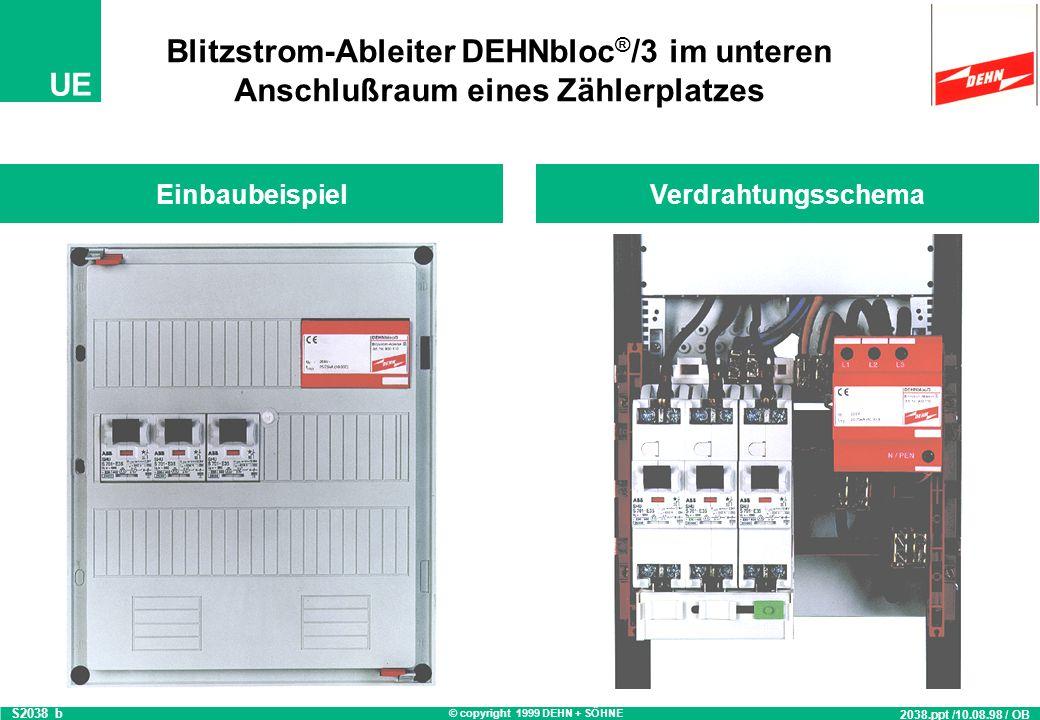 Blitzstrom-Ableiter DEHNbloc®/3 im unteren Anschlußraum eines Zählerplatzes