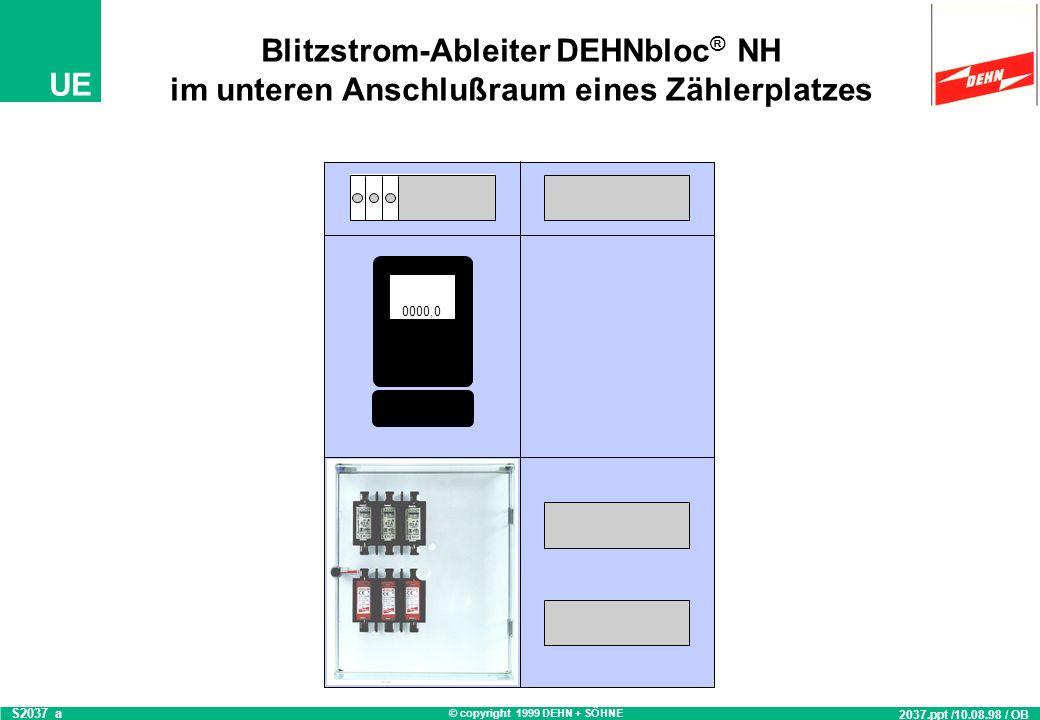 Blitzstrom-Ableiter DEHNbloc® NH im unteren Anschlußraum eines Zählerplatzes