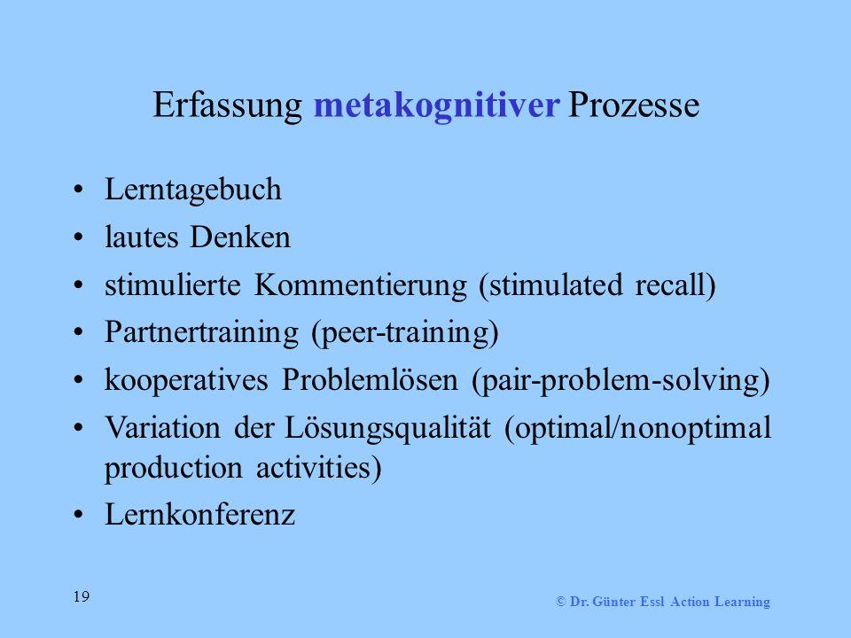 Erfassung metakognitiver Prozesse